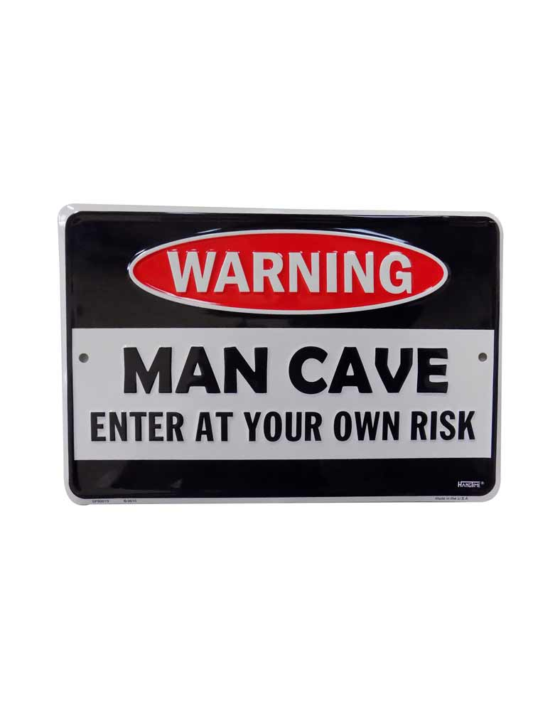 New Man Cave Warning Tin Sign - Clearance