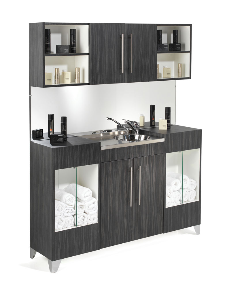 Opal Salon Vanity Unit with Upper Storage by REM