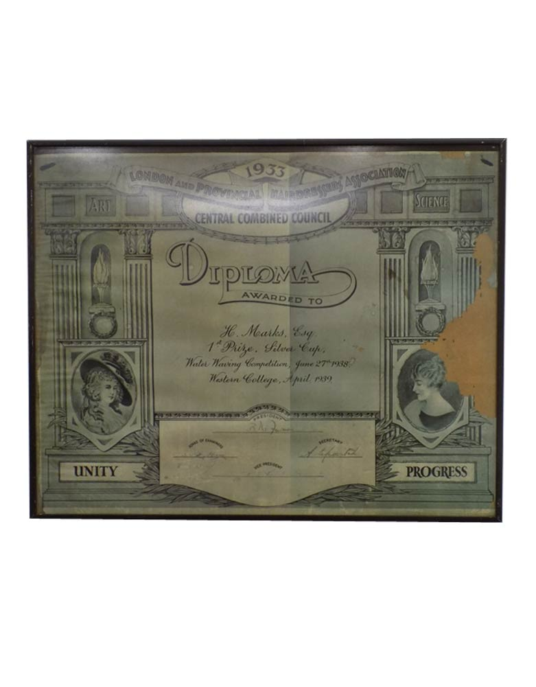 Vintage 1938 Water Waving Competition Winner Framed Diploma VIN118L