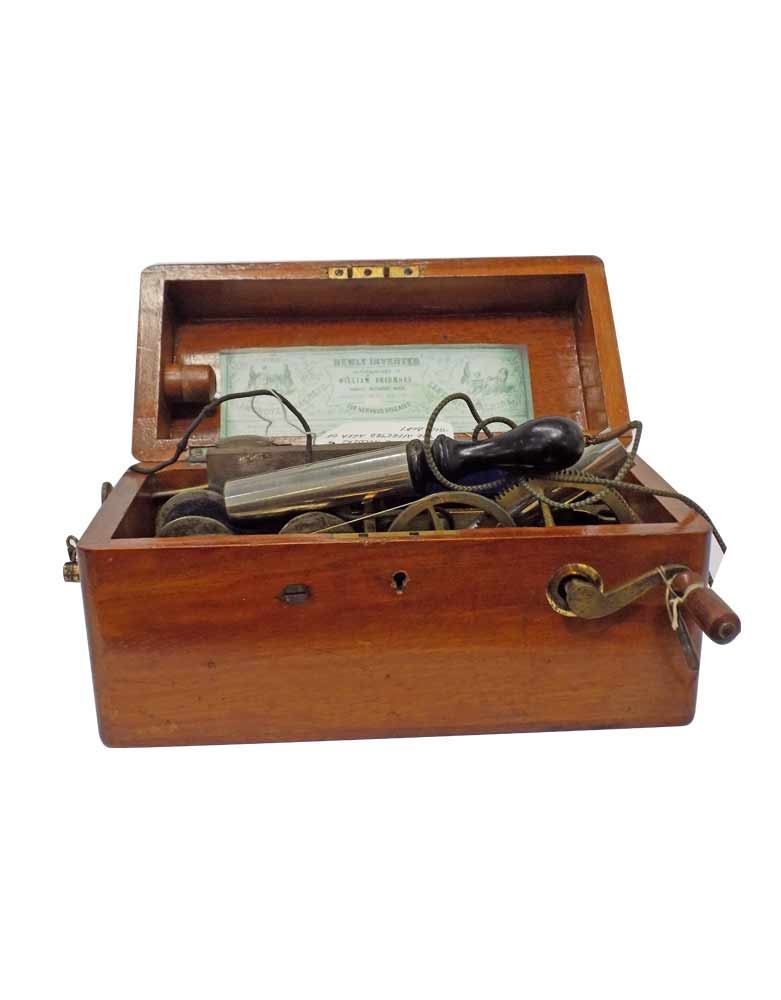 Vintage 1860's  Magneto Electric Machine in wooden box VIN33E