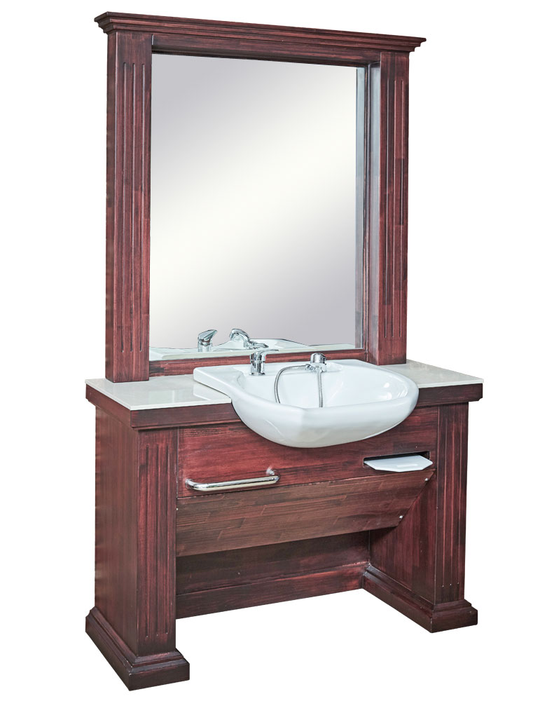 Dark Wood Bronx Plus Barber Unit with Basin by BEC