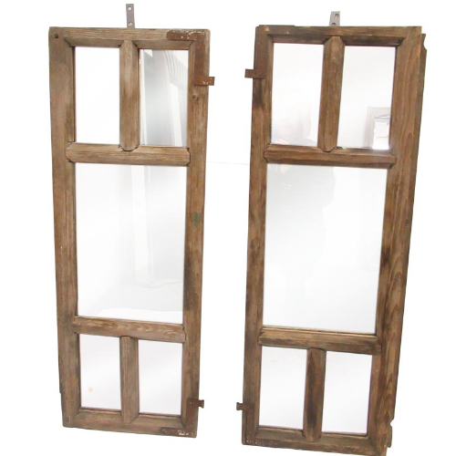 Vintage Pair of Old Wooden mirrored Windows  VIN27N