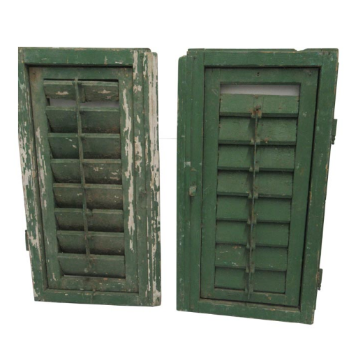 Vintage Pair of Green Wooden Plantation Shutters VIN27M
