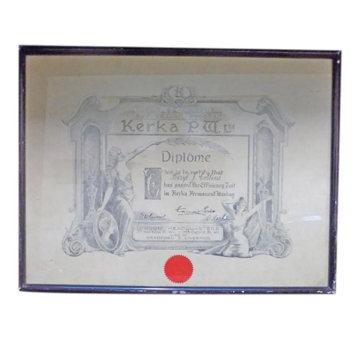 Vintage Permanent Waving Machine Framed Diploma VIN135E