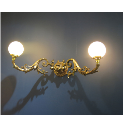 Vintage Ornate Brass Victorian Double Light Wall Sconce  VIN254D