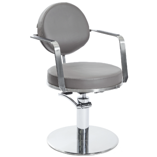 Dark Grey Platinum Round Salon Styling Chair by SEC