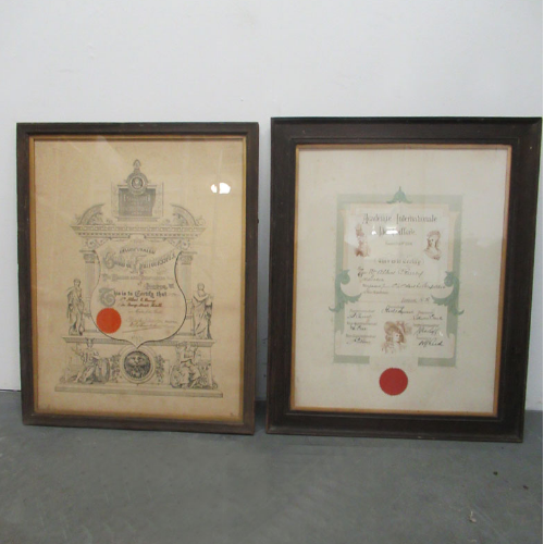 Vintage Hairdressers Guild & Academy Certificates 1890's VIN263A/B