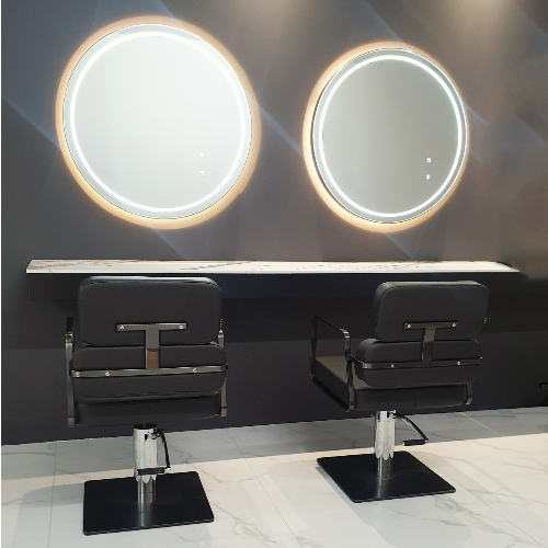 Graphite Round Double Salon Styling Unit by SEC