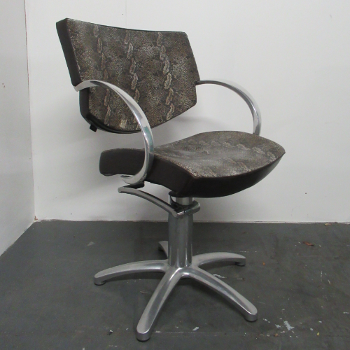 Used Snake Skin Fabric Salon Styling Chair by Maletti BG76D