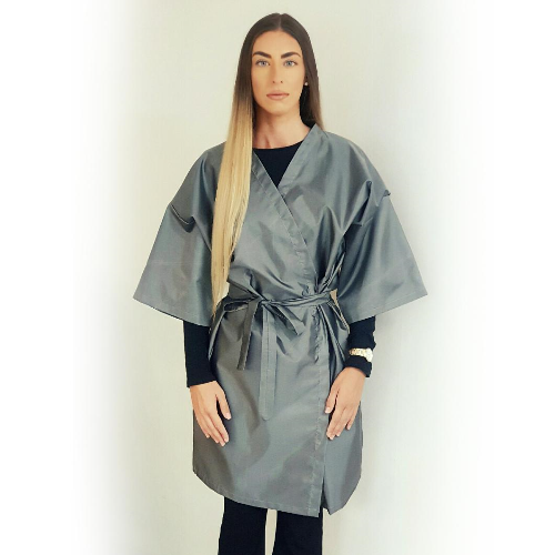 Grey Value Reusable Kimono Salon Gown by SEC