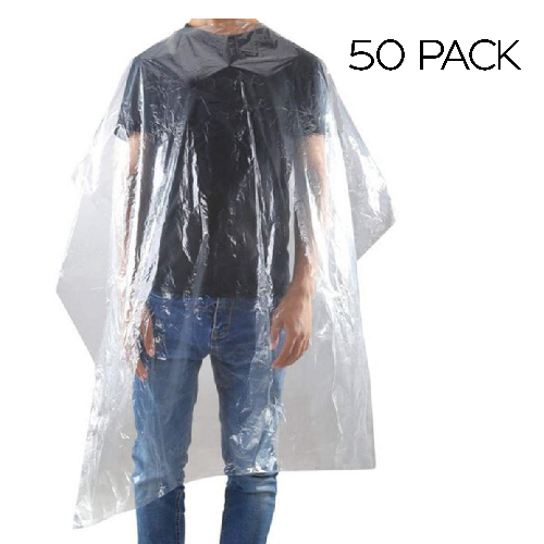 Disposable Clear Barber Gowns by BEC - 50 Pack