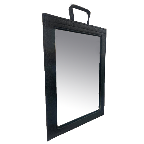 Black Leather-Effect Frame Mirror by SEC