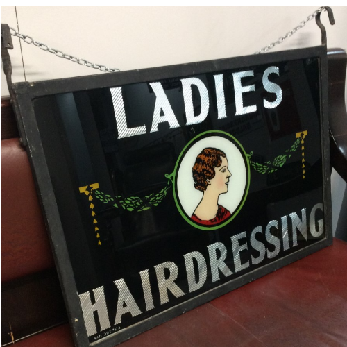 ANTIQUE 1920/30'S LADIES HAIRDRESSING SIGN VIN150F