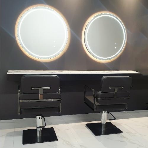 Graphite Round Double Salon Styling, Round Salon Mirrors With Lights